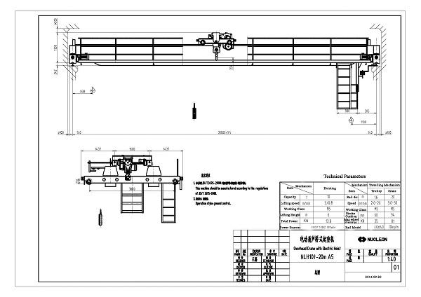 Double Girder Overhead Crane 10 Ton